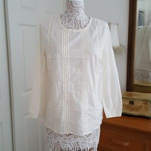 Blouse Lace Trim Ivory Old Navy
